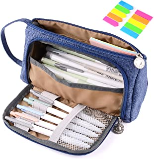 Pencil Case Bag, Yloves Big Capacity Pencil Pen Pouch Box Holder Organizer for School & Office Supplies with 2 PCS Index Tabs (Blue)