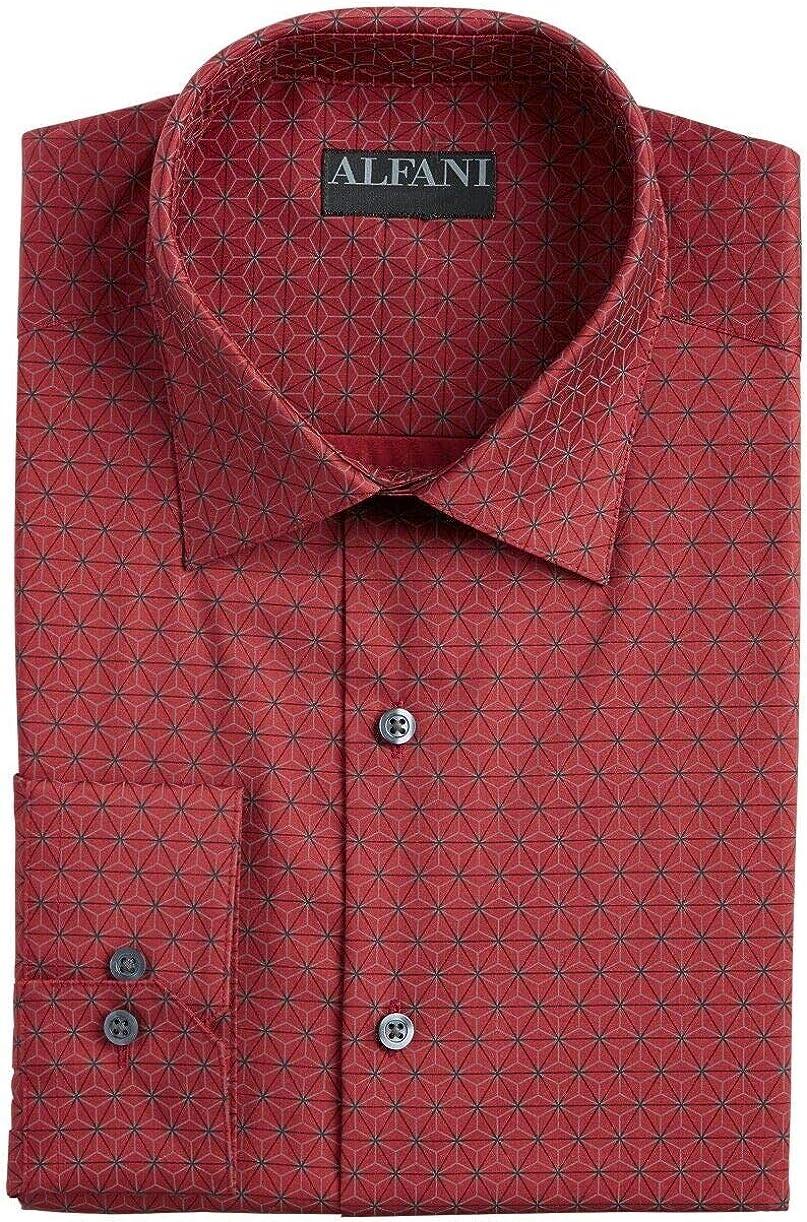 Alfani Men's Classic/Regular Fit Performance Stretch Geo-Print Dress Shirt, DK Red Grey 17-17.5 34/33