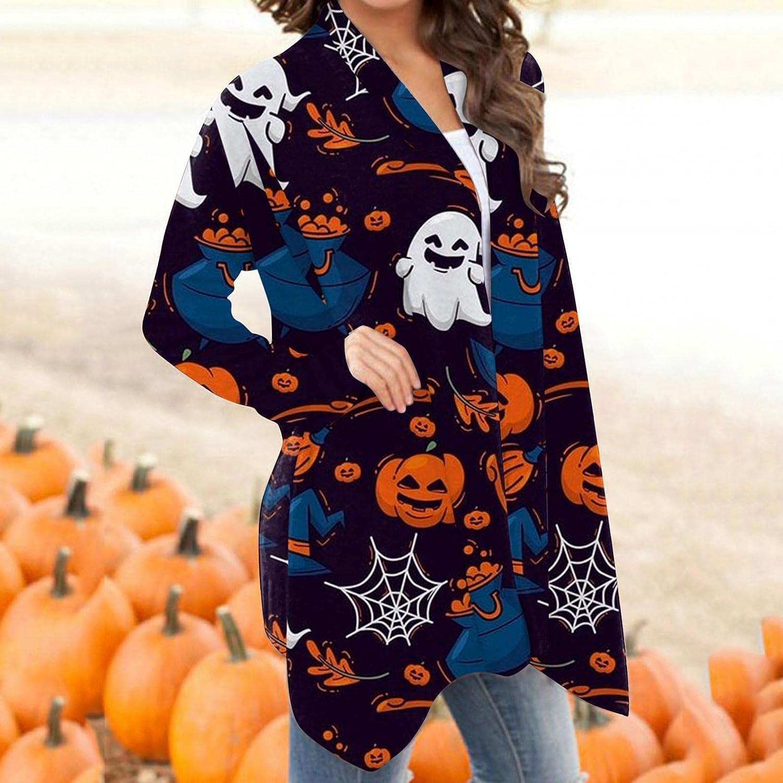 wilczyn Women's Long Sleeve Cardigan Coat Hallween Spider Web Printed Comfortable Patchwork Open Front Jacket Coat
