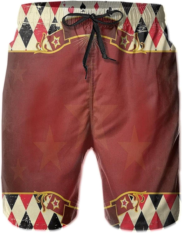 YAZXHJAZ Summer Beach Shorts Vintage Checkered Play Poker Casino Stars Swim Trunks Swimwear for Mens