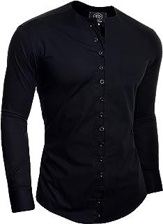 D/&R Fashion Camisa Fashion pintoresco Hombre con Cierre bucles y Cuello Equipo