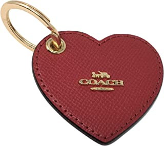 Leather Signature Heart Bag Charm Key Ring Fob True Red F66645