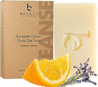 Organic Face Wash Bar Soap - Lavender Citrus Facial Cleanser Soap Bar for Dry or Sensitive Skin, Natural Soap Face Cleanser, Organic Soap, Womens & Mens Face Wash Soap Bars, Vegan Soap for Face Care