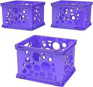 Storex Mini Crate, 9 x 7.75 x 6 Inches, Purple, Case of 3 (STX61592U03C)