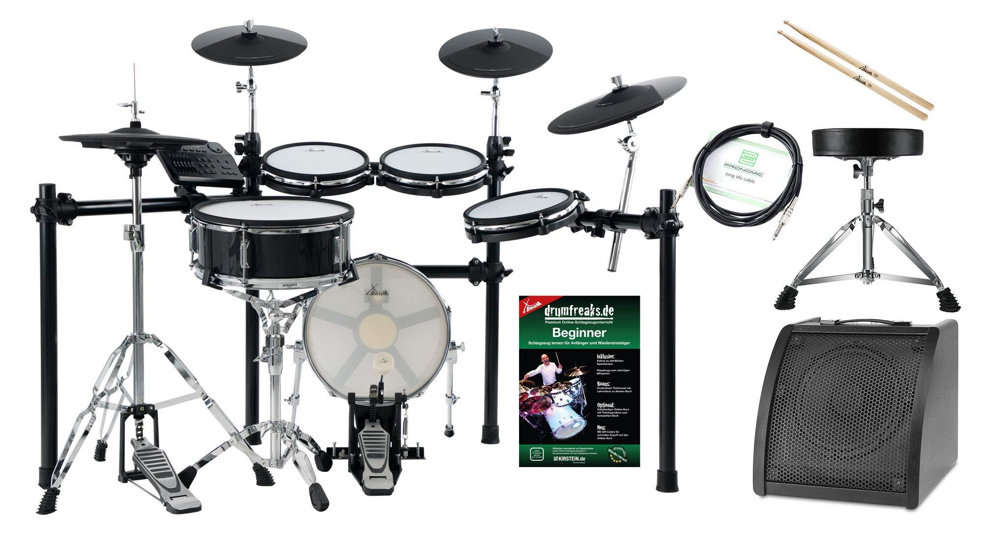 XDrum DD-650 Mesh - Batería electrónica con HiHat (14 pulgadas, base de caja y almohadilla de madera de 14 pulgadas, incluye rack, taburete, monitor, cables y baquetas), color negro: Amazon.es: Instrumentos musicales