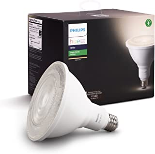 Philips Hue White Outdoor PAR38 13W Smart Bulbs (Philips Hue Hub Required), 1 White PAR38 LED Smart Bulb, Works with Alex...
