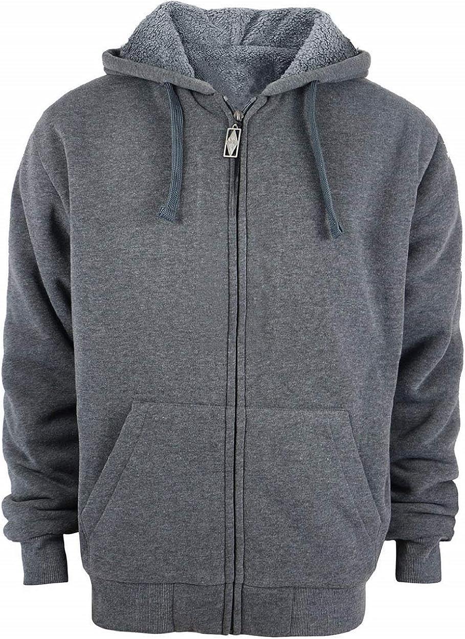 Men Heavyweight Hoodies Sherpa Lined Sweatshirts Fleece Winter Coat Thick Zip Up Jacket
