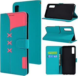 SHUHAN Mobile Phone Case for Galaxy Fabric Stitching Embroidery Horizontal Flip Leather Case With Holder & Card Slots & Wallet for Galaxy A7(Red) (Color : Light Blue)