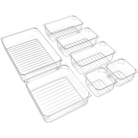 IPOW 7PCS Organisateur Tiroir système, Rangement de Tiroir Anti-dérapant Insérer Boîte de Rangement Maquillage avec 4 Tailles différentes pour Cuisine Bureau Coiffeuse Cosmétique Bureau - Transparent