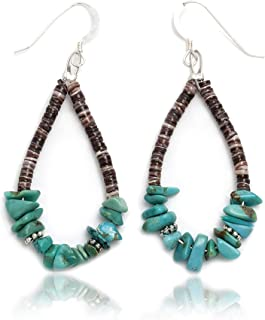$80Tag Silver Hooks Certified Navajo Native Turquoise Hoop Dangle Earrings 18082 Made By Loma Siiva