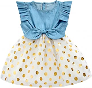 Girls Dress, Princess Dresses Sleeveless Denim Tops Floral Tutu Skirts