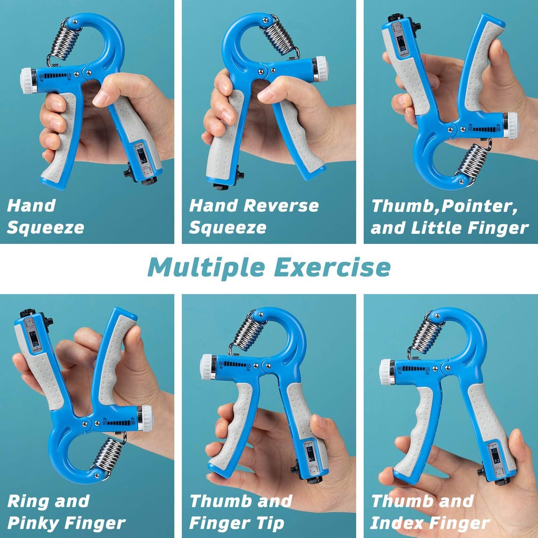 Finger Exerciser DomKom Grip Strength Trainer Workout Kit Grip Ring /& Stress Relief Grip Ball 5 Pack Finger Stretcher Adjustable Resistance 22-132 Lbs Counting Hand Gripper Strengthener