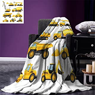 Luoiaax Boys Throw Blanket Abstract Images of Construction Vehicles and Machinery Trucks Bulldozer Crane Warm Microfiber All Season Blanket for Bed or Couch Earth Yellow Black