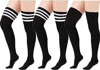 Womens Striped Thigh High Socks Casual Over the Knee Socks Long Cosplay Socks knee High Stockings Leg Warmers
