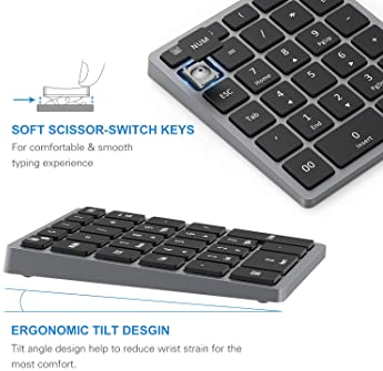 Bluetooth Numeric Keypad Rechargeable, Jelly Comb Portable Wireless Bluetooth 28-Key Number Pad with Multiple Shortcu...