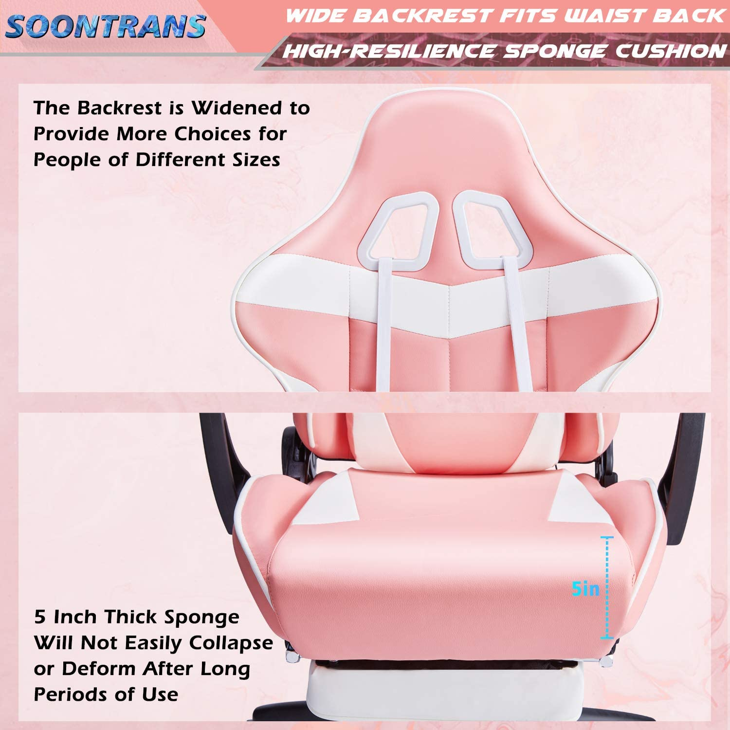 Hot-Pink Soontrans Massage Plus Gaming Chair Pink Large Size Computer Chair High Back Lovly Office Chair Ergonomic Executive Swivel Chair with Footrest Headrest and Lumbar Pillow Support