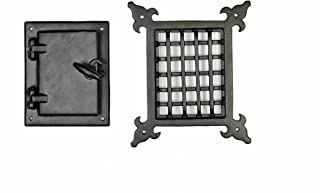 A29 Hardware 5 5/8 x 6 6/8 Inch Iron Speakeasy Door Grill/Grille with Viewing Door, Black Powder Coat Finish, Medium Size