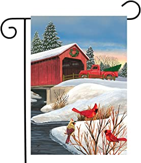 "Briarwood Lane Winter Bridge Garden Flag Pickup Truck Cardinals 12.5"" x 18"""
