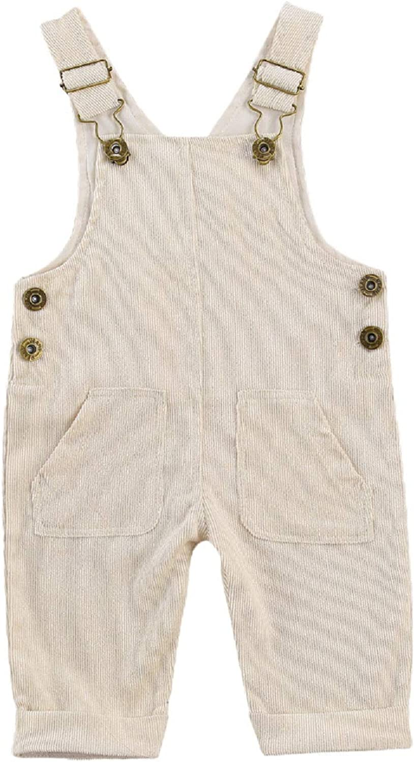 MXVPY Toddler Baby Boy Bib Pants Corduroy Solid Color Adjustable Buckle Bottom Pants One-Piece Jumpsuit with Pockets