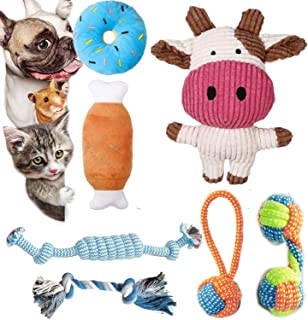 AZpets 7 Pack Small Dog Toys,Puppy Teething Toys,Cute Calf Squeaky Toys for Dogs,Durable Puppy Toys,Dog Chew Toys ,Puppy C...