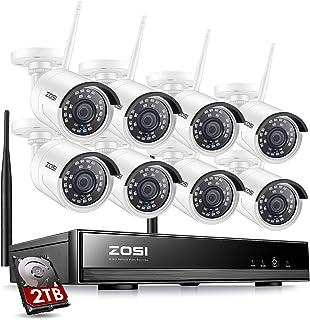 ZOSI Kit de Cámaras de Vigilancia WiFi 1080P Sistema de Seguridad Inalámbrico 8CH HD Grabador NVR + (8) 20MP Cámara IP Exterior + 2TB Disco Duro Visión Nocturna Acceso Remoto en Móvil