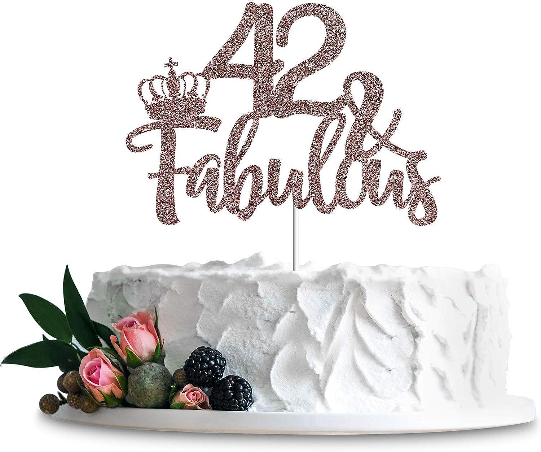 Rose Gold Glittery New Shipping Free Shipping 42 Fabulous Birthda free Happy 42nd Topper Cake