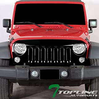 Topline Autopart Glossy Black Angry Bird Vertical Front Hood Bumper Grill Grille ABS For 07-18 Jeep Wrangler JK