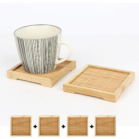 Natural Wood Coaster Round Square Teacup Mat Bamboo Coasters Resin Art Crafts