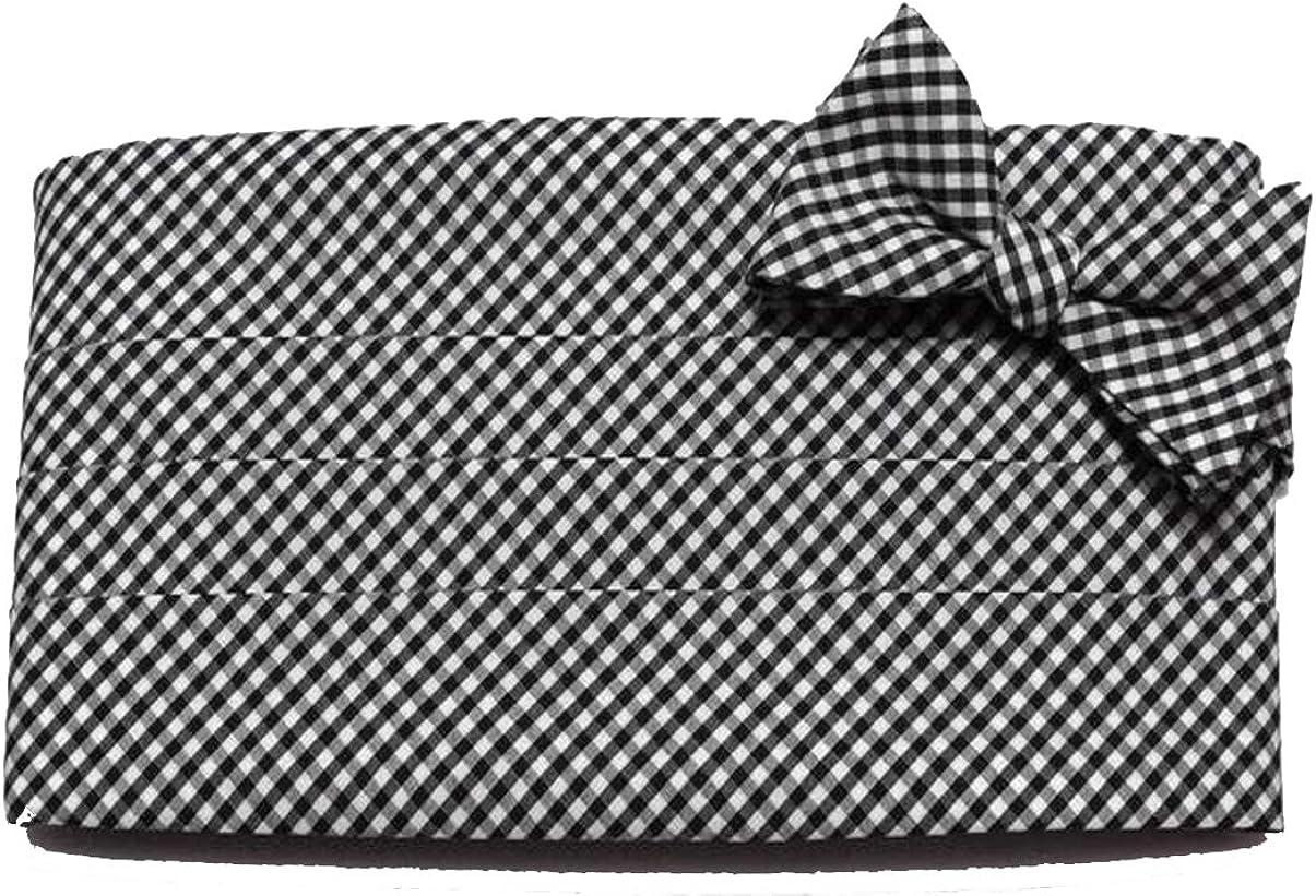 Brown and Church Black Gingham Check Cummerbund & Bow Tie