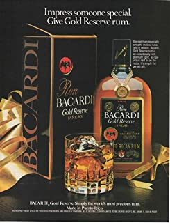 """Magazine Print Ad: 1982 Bacardi Gold Reserve Rum, On the Rocks,""""Impress someone special."""""""