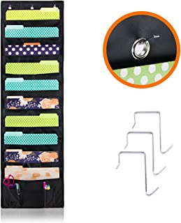 Cascading Hanging File & Folder Holder - Best Organizer for Office Wall, Home & Classroom – Includes: 10 Large Deep Pockets, 2 Small Pockets for Accessories & 3 SS Hooks – Best Storage Pocket Chart