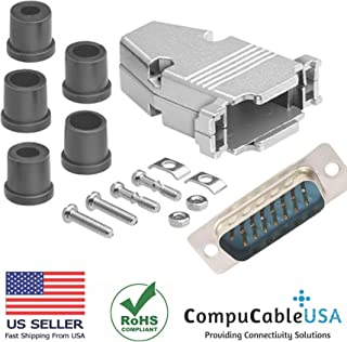 CompuCablePlusUSA.com Best DB15 Male Solder Cup Connector Kit With Metal Hood+Grommet Strain relief Best Complete DB15 Male Solder Type set Fix/Make/Assembly your own DB15 Cable