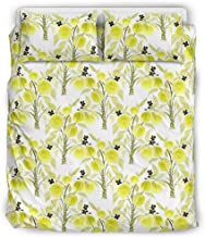 B5TDF-9 Plant Lemon Bedding Sets Western Style 3 Piece Pillow and Duvet Cases - Soft & Comfort Bohemia Bed Sheets Set White 66x90 inch