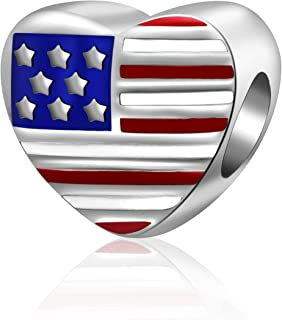Hoobeads Patriotic Proud American USA Flag Charms 925 Sterling Silver Enamel Travel Country Bead