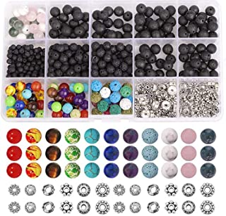 Lava Beads Set, 500pcs Jewellery Making Beads with Spacer Chakra Bead & Crystal String for DIY Necklace Bracelet Essential...