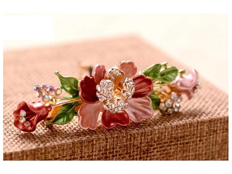 ベッドを作る防腐剤火Osize 美しいスタイル ヴィンテージフラワーヘアピンレディーススプリングクリップヘアアクセサリー(ピンク)