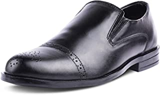 Kanprom Men's Black Genuine Leather Formal Moccasins Round Toe Slip On Brogue Shoes