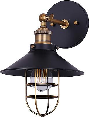 Marazzo Bathroom Wall Sconce | Antique Brass w/Black Hallway Wall Light with LED Bulb LL-WL61-7SBK
