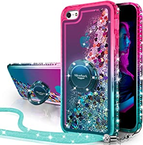 iPhone SE Case, iPhone 5S/5 Case, Silverback Moving Liquid Holographic Sparkle Glitter Case with Kickstand,Bling Diamond Bumper with Ring Protective Apple iPhone SE Case for Girls Women -Green W