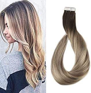 Full Shine Tape in 14 Inch Human Hair Extensions Remy Hair Ombre Balayage Hair Color Dark Brown Roots Color #3 Fading to #8 and #22 Blonde Highlighted Extensions 20 Pcs 50gram Per Pack