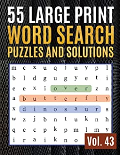 55 Large Print Word Search Puzzles and Solutions: Activity Book for Adults and kids Wordsearch Easy Magic Quiz Books Game for Adults   Large Print (Find Words for Adults & Seniors)