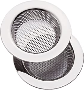 2 PCS Kitchen Sink Strainer Stainless Steel, kitchen Sink Drain Strainer,Sink Strainers for Kitchen Sinks with Large Wide Rim 4.5