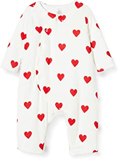 Petit Bateau 5810501 Combinaison Longue Cœurs Rouges Bébé Fille en Côte