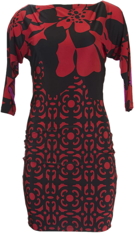 ANALILI Women's Black Arabesque Print Cut Out Back Dress A1363BD10
