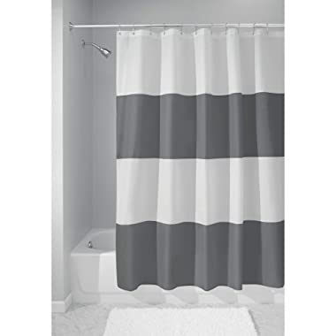 iDesign Zeno Wide Striped Shower Curtain for Master, Guest, Kids', College Dorm Bathroom, 72  x 72 , Gray and White