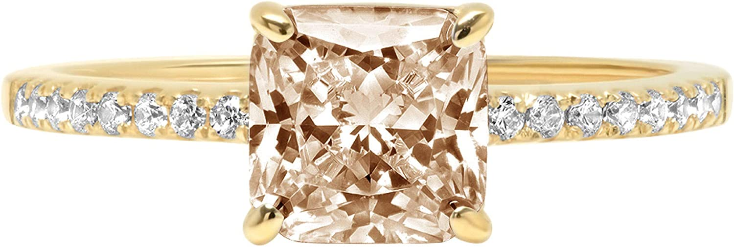 1.6ct Brilliant Asscher Cut Solitaire with Accent Brown Champagne Ideal VVS1 Simulated Diamond CZ Engagement Promise Statement Anniversary Bridal Wedding Ring Real 14k Yellow Gold