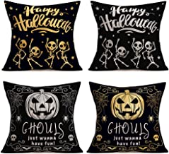 Hopyeer Happy Halloween Skull Pumpkin Decor Throw Pillow Cover Dancing Skeleton Stars with Evil Pumpkin Ghouls Quote SpiderWeb Cotton Linen Pillowcase Home Couch Cushion Cover 18
