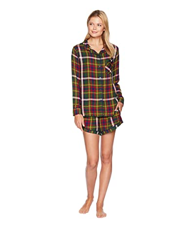 Plush Ultra Soft Woven PJ Set (Green Plaid) Women