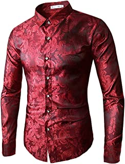 BELLER Men's Blouse,Men's Fashion Shirt Luxury Design Long Sleeve Shirt Unique Pattern Fancy Tops Shirts