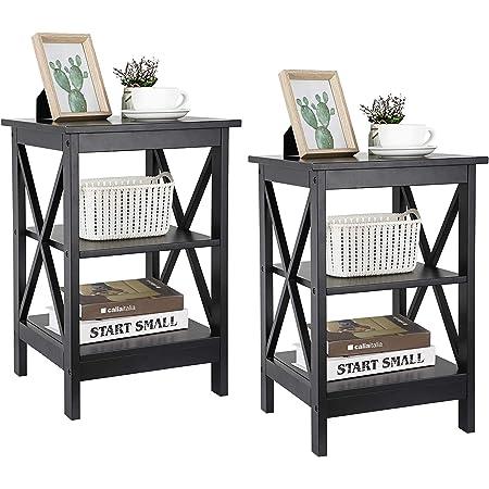 ZENY Set of 2 End Table, Sofa Side End Storage Shelf Versatile X-Design Night Stand, Living Room Bedroom Furniture